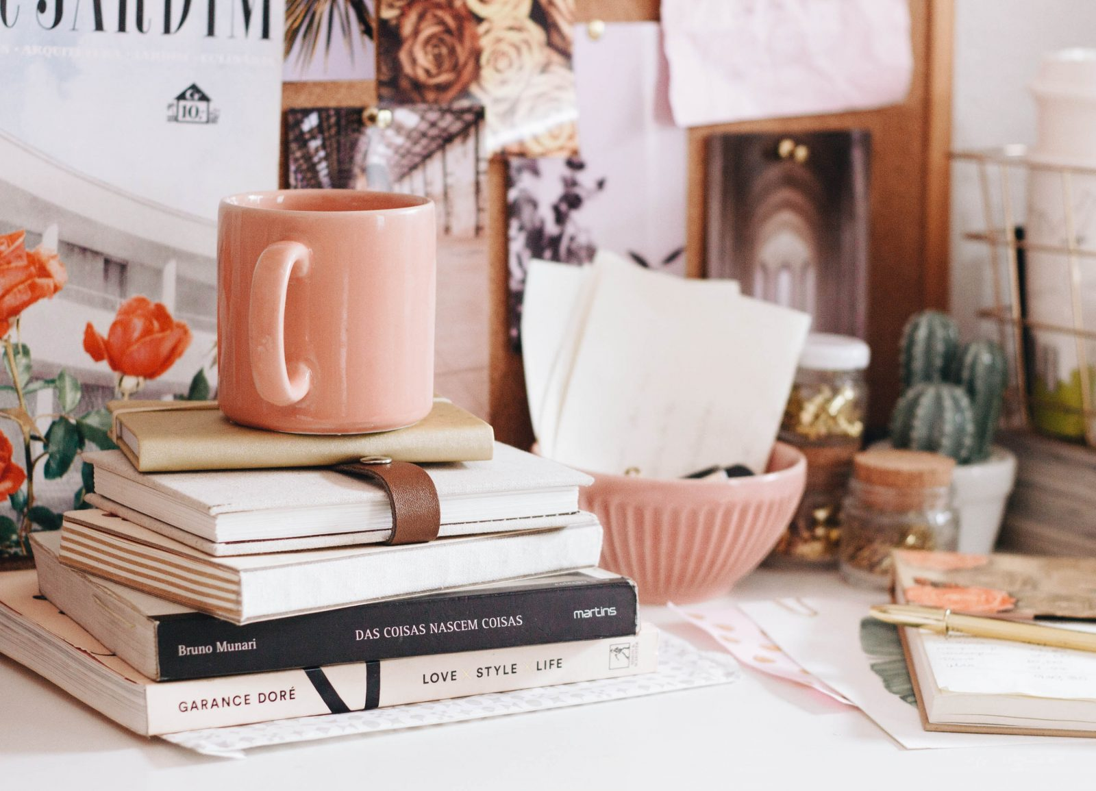 Pink home office items