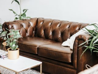 pottery barn leather couch